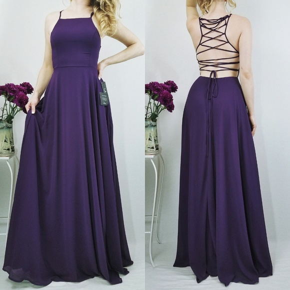 bfd93dede31c7 Lulu's Dresses | Strappy To Be Here Purple Maxi Lace Up Lulus Dress ...